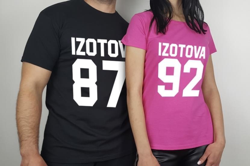 Фото парных футболок с фамилией и годом рождения