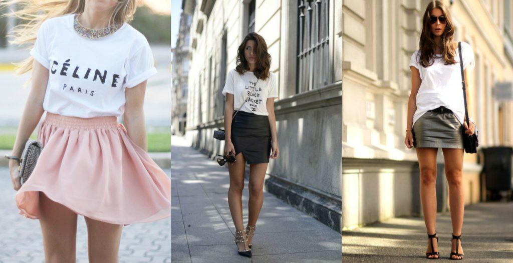 Фото стильного лука с юбкой и футболкой