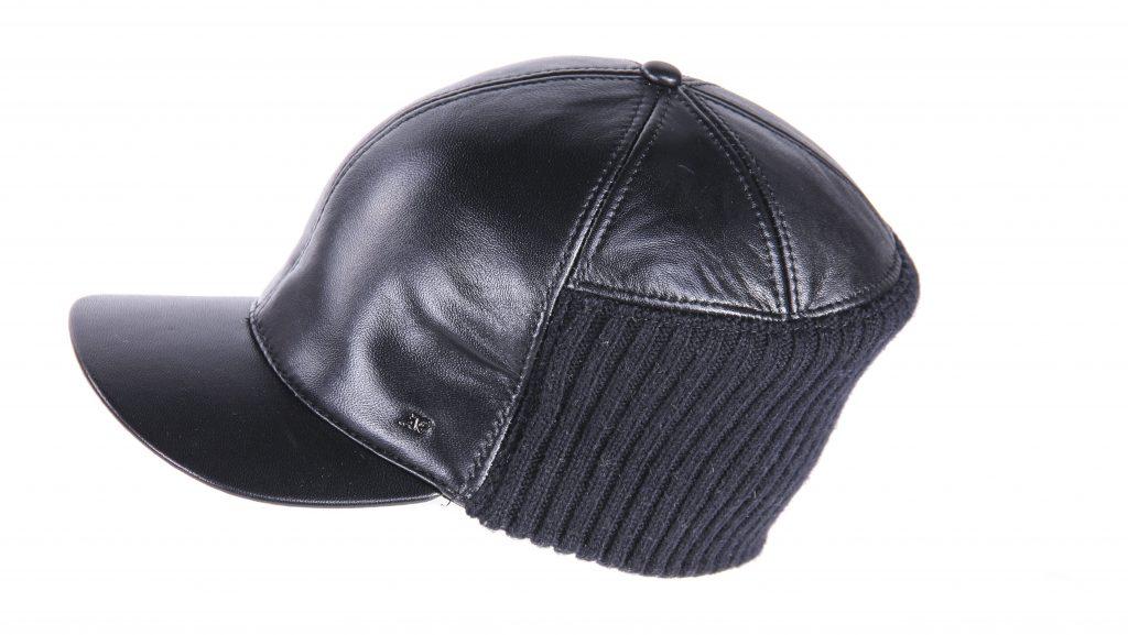 Фото кожаной кепки-бейсболки с вставкой из шерсти