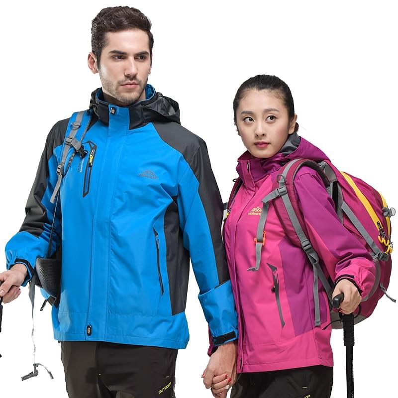 Изображение мужчины и девушки в разноцветных ветровках спортивного стиля