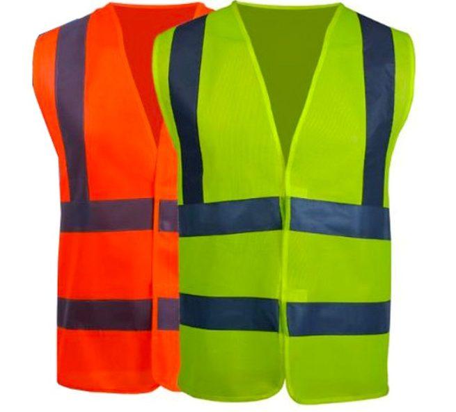 Изображение оранжевого и желтого сигнального жилета со светоотражающими полосами