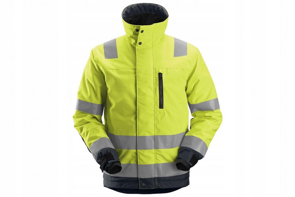 Фото яркой желтой куртки со световозвращающими полосами