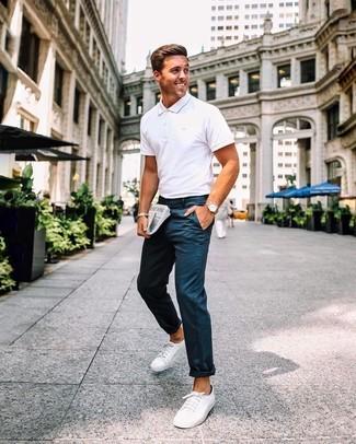 Фото мужского образа с футболкой-поло для прогулки