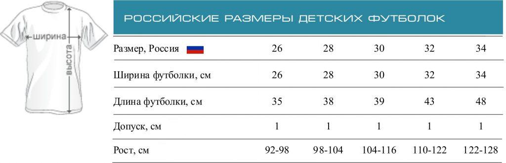 Фото таблицы с российскими размерами футболок для детей