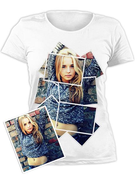 Изображение белой футболки с фотографией, нанесенной прямой цифровой печатью