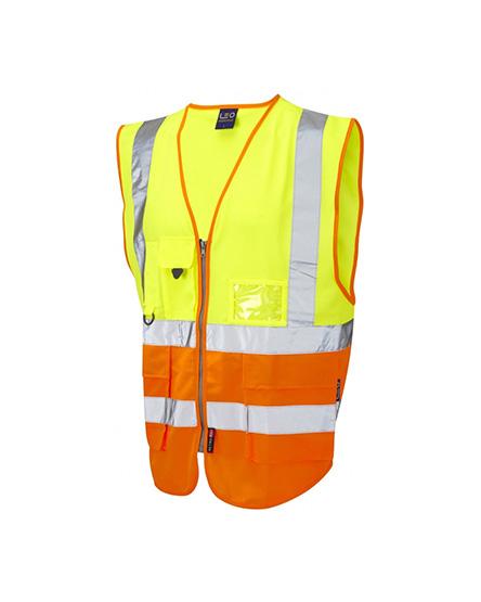 Изображение оранжево-желтого сигнального жилета со светоотражающими полосами