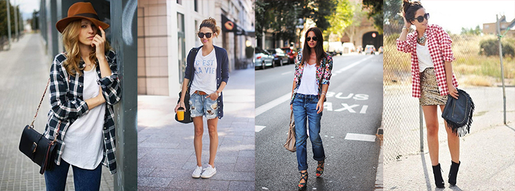 Изображение девушек в модных ансамблях из рубашки и майки